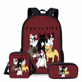Frenchies Friends Backpack, Shoulder Bag, and Makeup/Pencil Bag