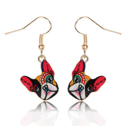 Colorful Make Up French Bulldog Hanging Earrings