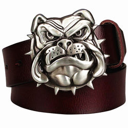 Grinning Angry English Bulldog Spike Collar Leather Belt