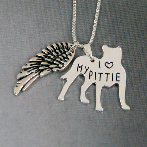 Pit Bull with Wings Pendant Necklace