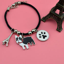 French Bulldog Eiffel Tower Paw Rope Chain Bracelet