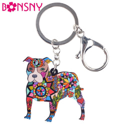 Colorful Pit Bull Mosaic Snap Hook Keychain