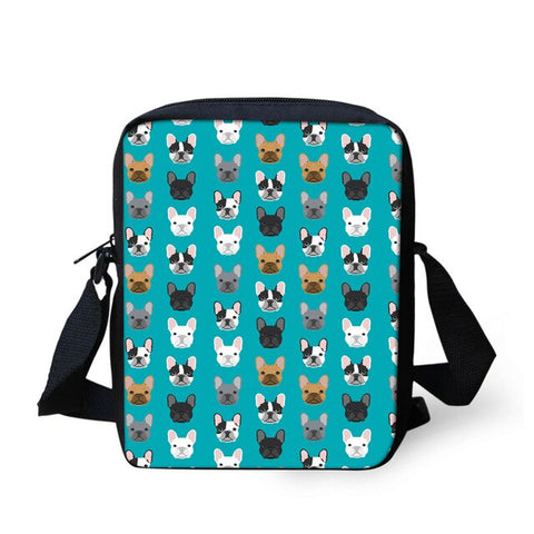 White Black Brown French Bulldog Pattern Blue Shoulder Bag