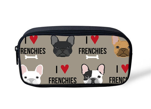 I Love Heart Frenchies Bone Makeup/Pencil Bag