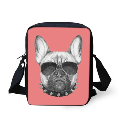 French Bulldog Sunglasses Spike Collar Shoulder Bag