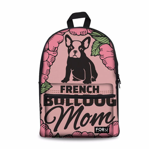 French Bulldog Mom Pink Rose Backpack