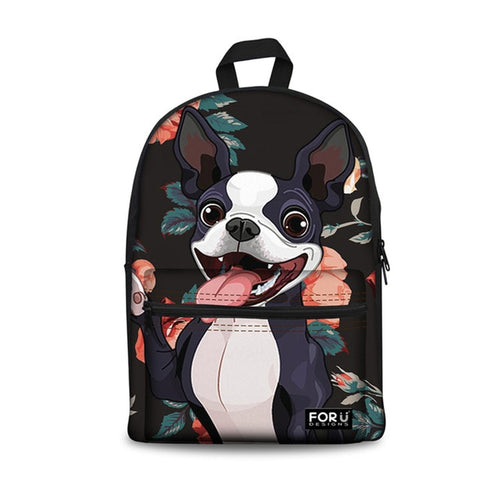 Cartoon Happy Boston Terrier Floral Background Backpack