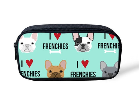 I Love Heart Frenchies Bone Teal Makeup/Pencil Bag