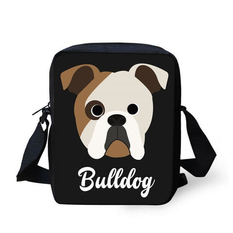 English Bulldog Head Circle Eyes Shoulder Bag
