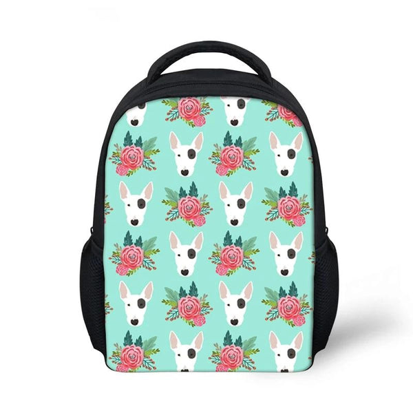 Bull Terrier Head Floral Pattern Turquoise Backpack