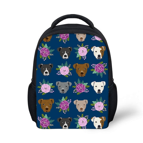 Pit Bull Heads and Floral Pattern Blue Backpack
