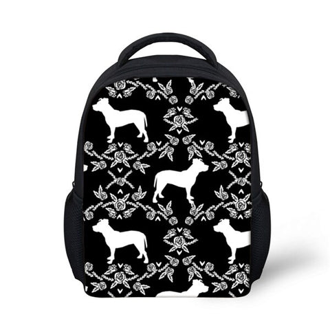 White Pit Bull Silhouette Pattern Black Backpack