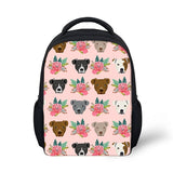 Pit Bull Heads and Floral Pattern Pink Backpack