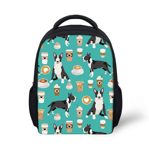 Bull Terrier Coffee Pattern Tote Bag Shoulder Bag