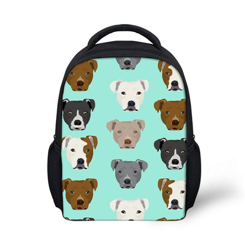 Different Pit Bull Heads Pattern Turquoise Backpack