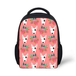Bull Terrier Head Floral Pattern Pink Backpack