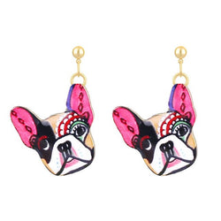 Colorful Make Up French Bulldog Hanging Stud Earrings