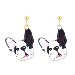Happy French Bulldog Hanging Stud Earrings