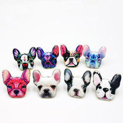 Cute French Bulldog Head Stud Earrings
