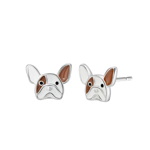 French Bulldog Head Brown White Stud Earrings