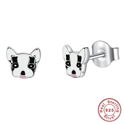 French Bulldog Head White Black Stud Earrings