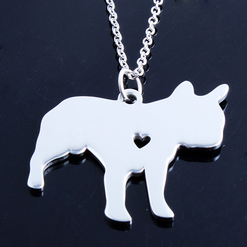 Little Heart French Bulldog Shape Pendant Necklace