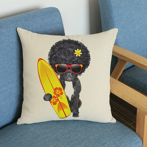 French Bulldog Afro Surfboard Shades Pillowcase/Throw Pillow