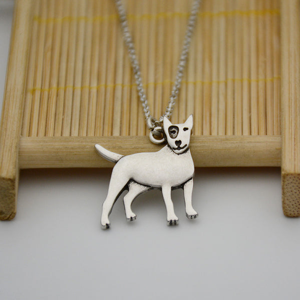 3D Bull Terrier Black Eye Patch Pendant Necklace