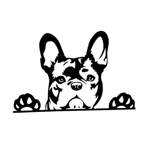 French Bulldog Outline Drawing Looking Over Sticker