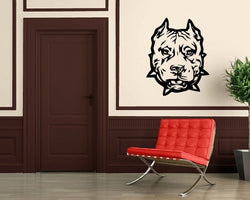"Mean Muscular Pit Bull Head Short Crop Sticker (22"")"