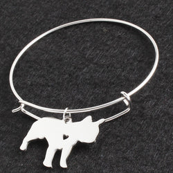 French Bulldog Small Heart Round Metal Bracelet