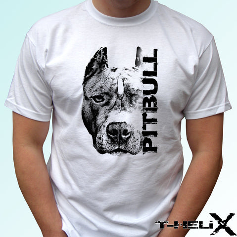 Pitbull Side Text Pitbull Head Long Crop Ear T-Shirt