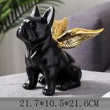 Black French Bulldog Gold Wing Statue Sculpture
