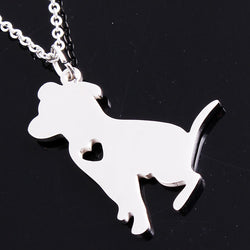 Cute Sitting Pit Bull Pendant Necklace