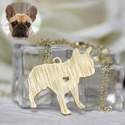French Bulldog Shape Metal Plated Pendant Necklace
