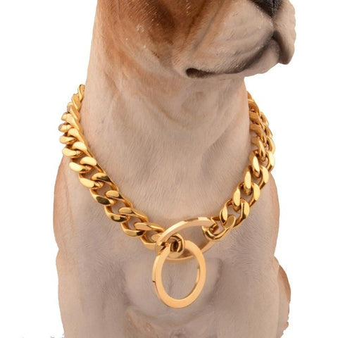 Cuban Chain Link Style 12mm Wide Dog Collar