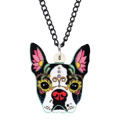 Halloween Floral Pattern French Bulldog Dog Necklace