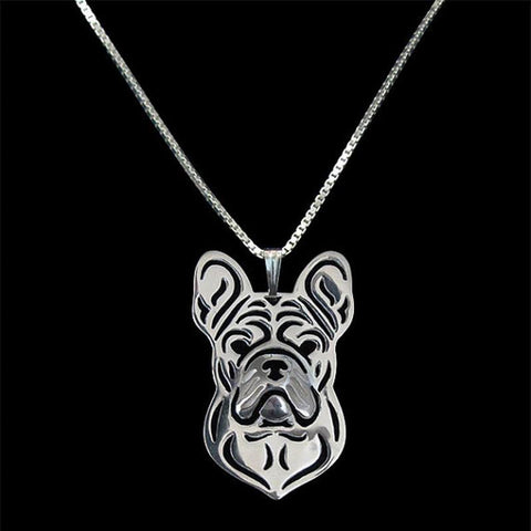 French Bulldog Outline Head Pendant Necklace