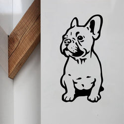 "Sitting French Bulldog Puppy Outline Drawing Sticker (5"" x 2.8""), (11.0"" x 5.1""), (22"" x 11"")"