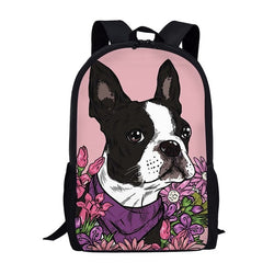 Boston Terrier Floral Pink Background Backpack