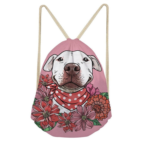 White Pit Bull Floral Pink Drawstring Backpack