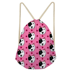 White Black Pit Bull Head Pink Polka Dot Drawstring Backpack