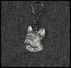 Realistic French Bulldog 3D Head Snap Hook Keychain
