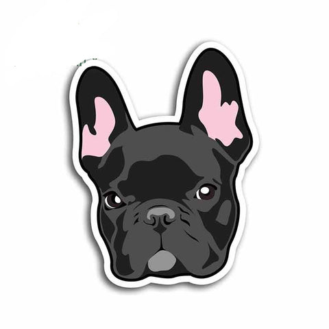 Black Cartoon French Bulldog Head Sticker