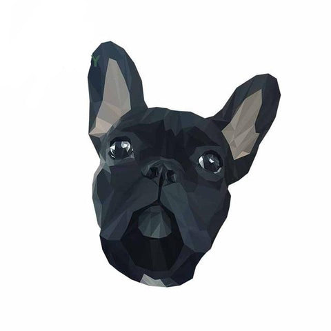 Black Abstract Colored French Bulldog Sticker