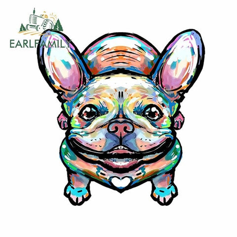 Colorful French Bulldog Wet Paint Style Sticker