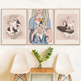 French Bulldog Dog Girl Decor Canvas Painting Poster