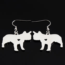 French Bulldog Heart Fish Hook Earrings