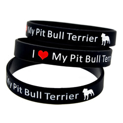 I Love My Pit Bull Terrier Silicon Wristband Bracelet