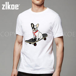 French Bulldog Sitting on Skateboard Men's T-Shirt